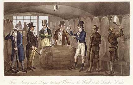 Tom Jerry and Logic tasting Wine from the Wood at the London Docks: 1821