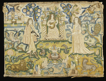 A silk, wool and linen embroidered panel: 17th century