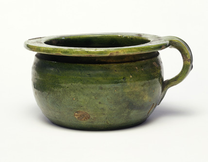 Green glazed chamber pot: 17th century