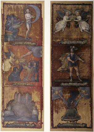 Cavalry flags used as screen panels: 17th century