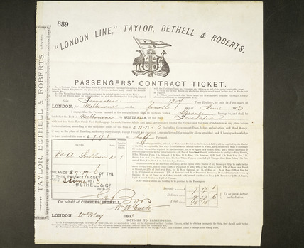 Passenger's contract ticket to Australia: 1873