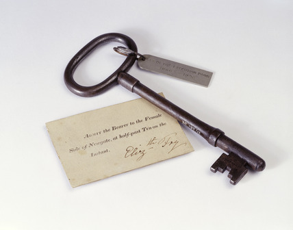 Entry pass and door key for Newgate prison: 19th century