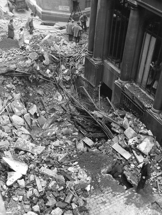 Bomb Damage at number 62 Lombard Street: 1940
