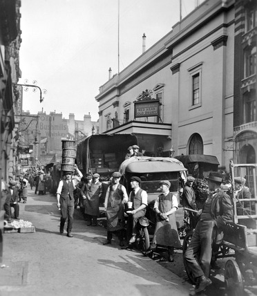 Garden market porters and van drivers outside the Theatre Royal, Drury Lane: 20th century