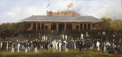 Portrait Group of Members of the Marylebone Cricket Club Outside the Pavilion at Lord's: 19th century