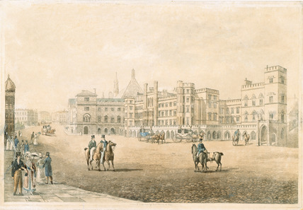 View of the House of Lords and Commons from Old Palace Yard:1821