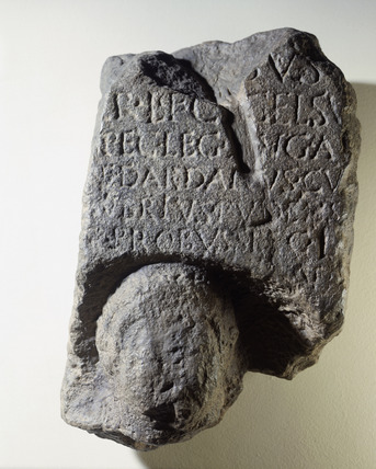Cast reproduction of a fragment of a tombstone of Celsus