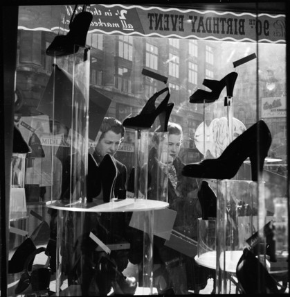 Window-shopping for shoes at Oxford Street: 20th century