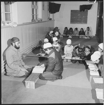 Young Muslims in class at a Mosque: 1982