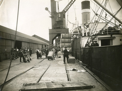 Unloading cargo from the S.S. Grigna at Tilbury: 20th century