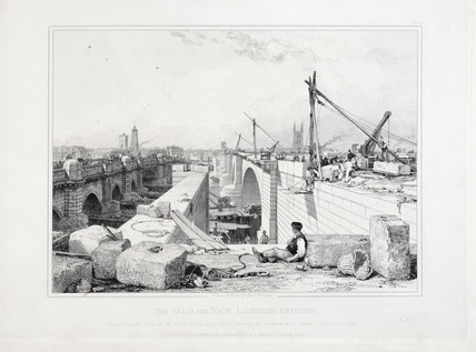 Old and new London Bridges: 1830