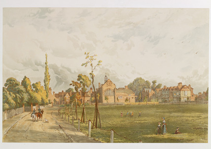 The Church, Tabard Inn and stores from Acton Green: 1882