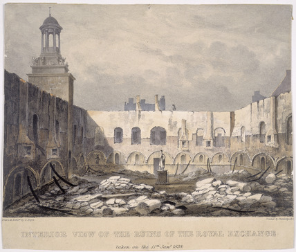 Interior View of the Ruins of the Royal Exchange: 1838
