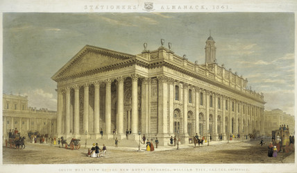 South West view of the new Royal Exchange, William Tite, F.R.S. F.G.S. Architect: 1841