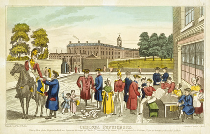 Chelsea pensioners with a view of the hospital: 19th century