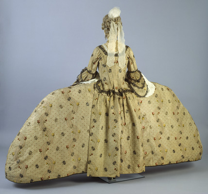 Silk dress ensemble, back view: 18th century