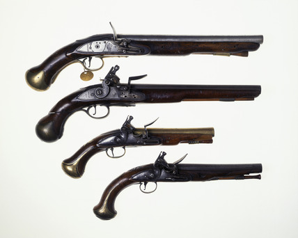 Four flintlock pistols: 18th century
