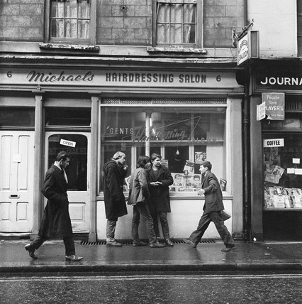 Pedestrians outside Michael's Hairdressing Salon: 1960