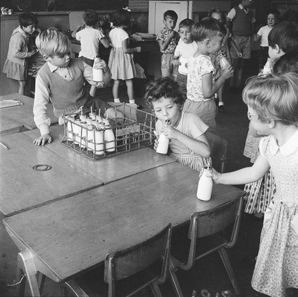 Free morning milk at Courtland Primary School, Mill Hill: 1959