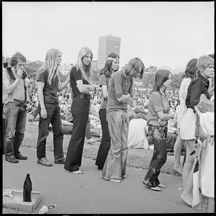 People queue at a music festival, Hyde Park: 1970