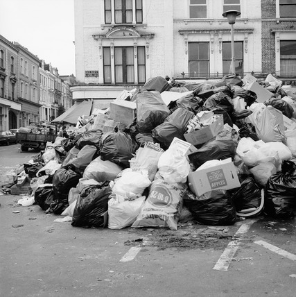 Piles of rubbish during a dustmen's strike, Camden: 1979