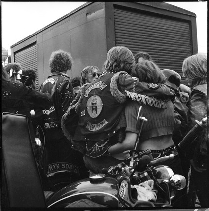 Bikers at a music festival in Hyde Park: 1970