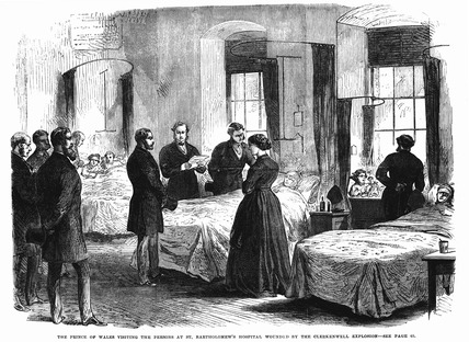 The Prince of Wales visiting the wounded by the Clerkenwell explosion: 1868