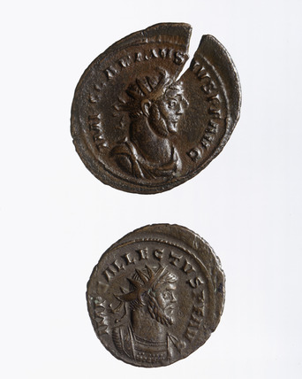 Obverse of two Roman coins of Allectus and of Augustus