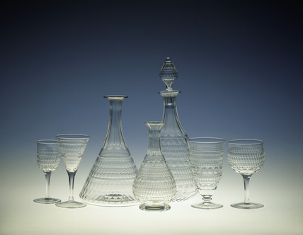 Selection of Facet cutting whitefriars glass pieces