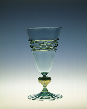 Whitefriars glass goblet: 1906