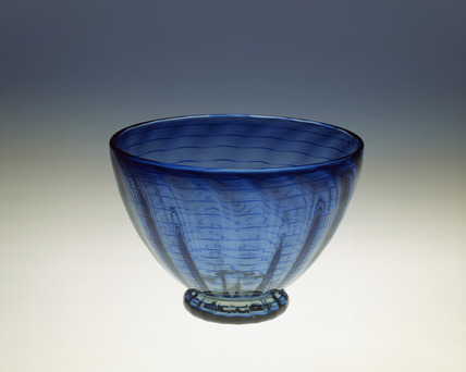 Bowl in blue glass: 20th century