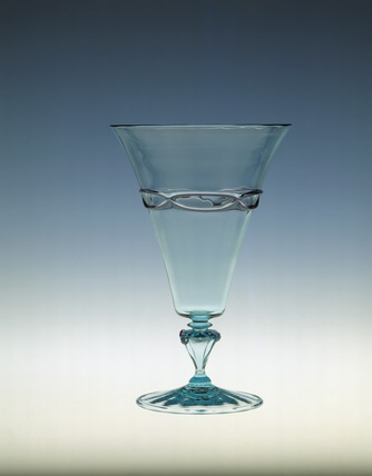 Whitefriars Goblet in 'Alsatian Blue' glass: 20th century