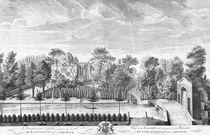A Prospect of the Cascade, and part of Lord Burlington's house, at Chiswick: 18th century