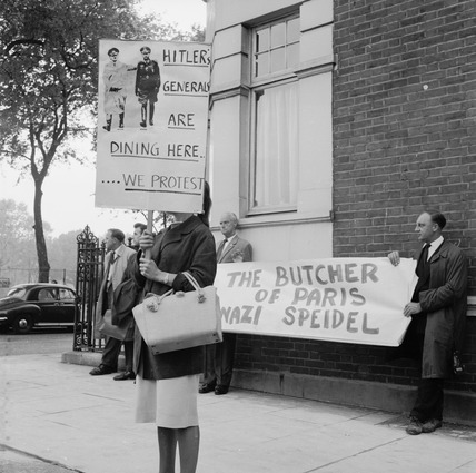 Protest against ex-Nazi General Speidel's visit to Britain: 20th century