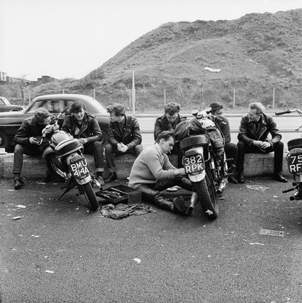 Bikers outside the Ace Café, North Circular Road: 1963