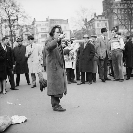 A man addresses the crowd at Speakers' Corner, Hyde Park: 1964