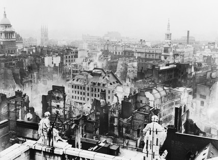 Bomb damage viewed from St. Paul's towards Paternoster Row:1940