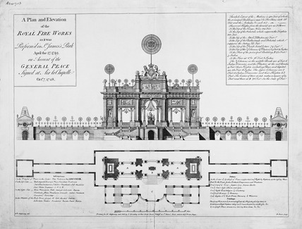 A Plan and Elevation of the Royal Fire Works as it was Perform'd in St James's Park April the 27 1749 on account of the General Peace signed at Aix la Chappelle Octr 7 1748