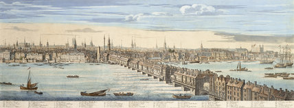 Panorama of of the north bank of the Thames: 1749