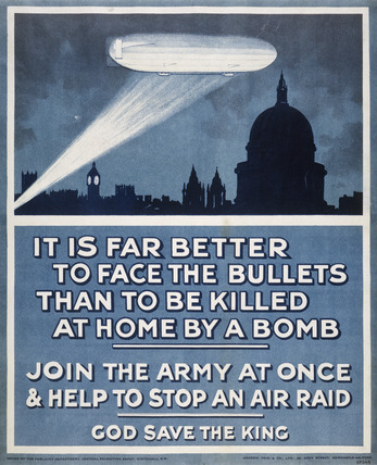 Poster with a Zeppelin over London skyline: 20th century