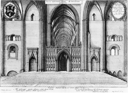 View of Old St Paul's Cathderal - the choir, interior and exterior: 1656