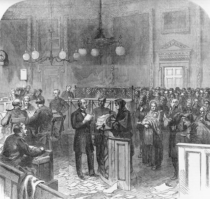 Distribution of relief at the Mansion House: 1867