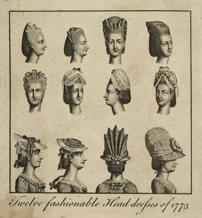 'Twelve fashionable Head Dresses of 1775'