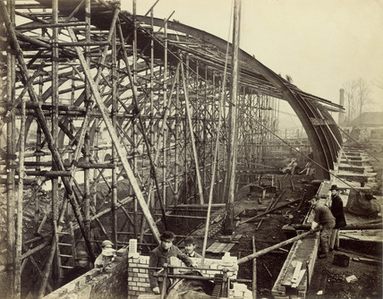 Gloucester Road Station under construction looking towards South Kensington: C. 1866