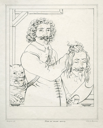 The executioner brandishing the head of Charles I: 19th Century