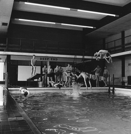 Boys diving in swimming pool: 1959-1966