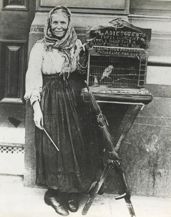 Fortune teller and her cagged  bird: c.1900