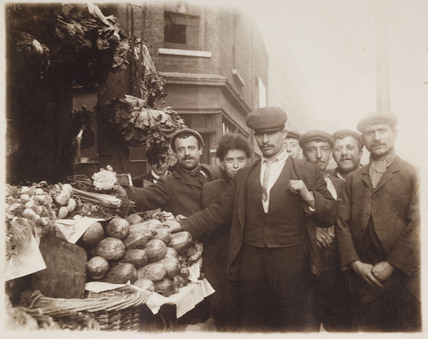 East End market stall and traders: c.1900