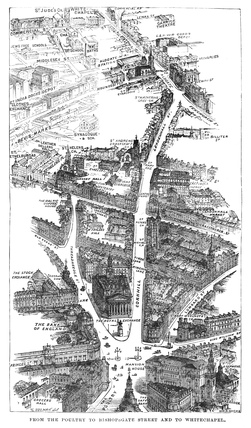 From the Poultry to Bishopsgate Street and to Whitchapel, bird's-eye view: 1889