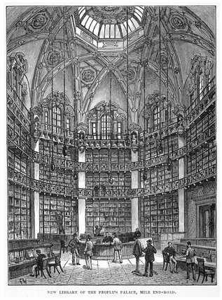New Library of the Peoples Palace, Mile End Road: Circa 1888
